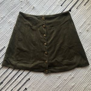 Green suede button front mini skirt